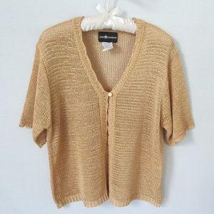 Sag Harbor gold open weave cardigan sweater sz XL
